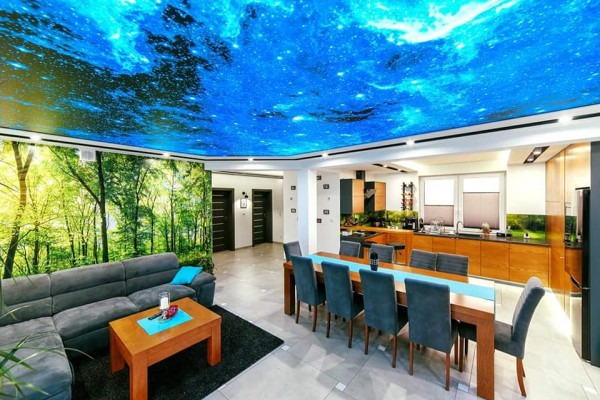 3D Stretch Ceilings - Blue ceiling