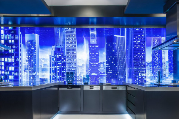 3D Stretch Ceilings - Blue wall